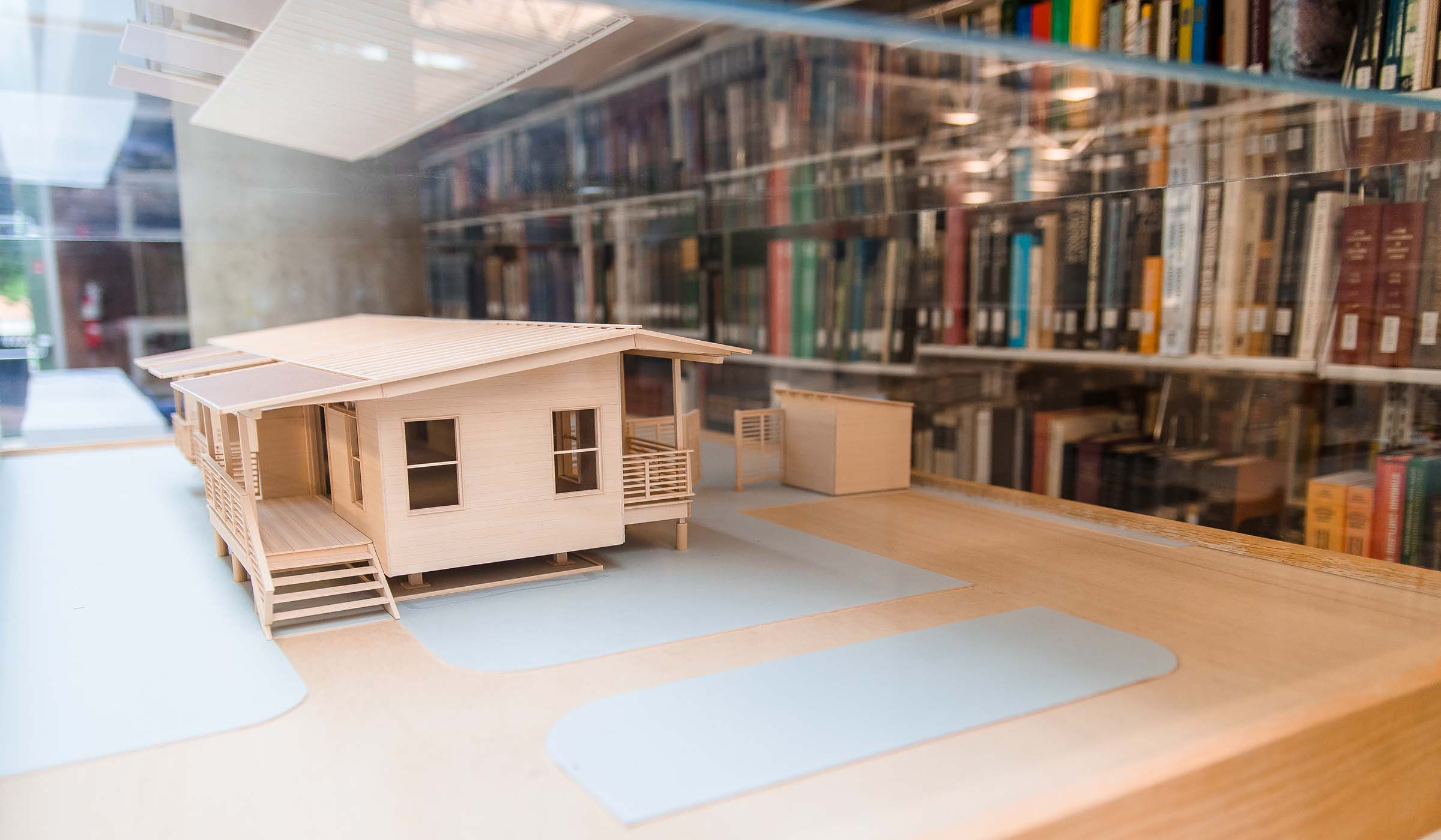 Architectural model on display in the library.