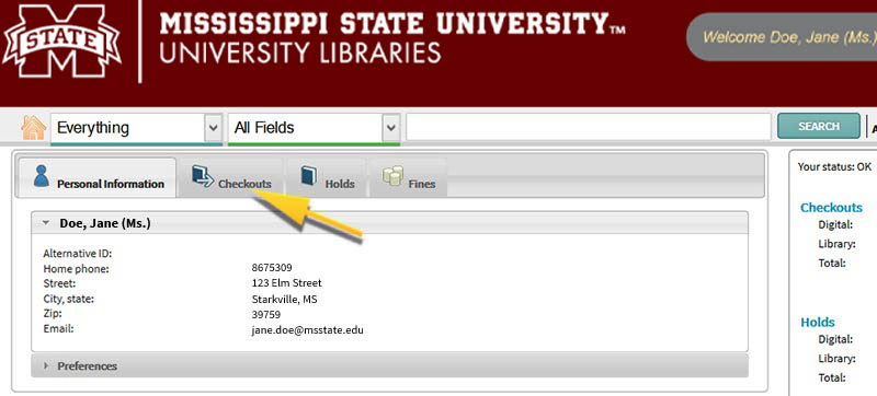 Arrow pointing to the Checkouts tab on the Online Catalog interface.
